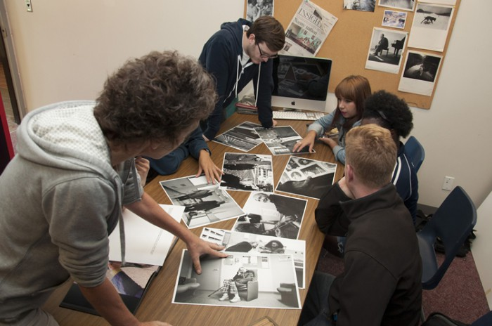 Professor Patti Gower discusses a documentary project with second year students
