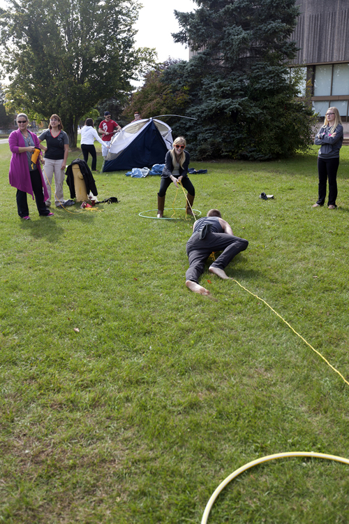 Students participate in outdoor rec activities