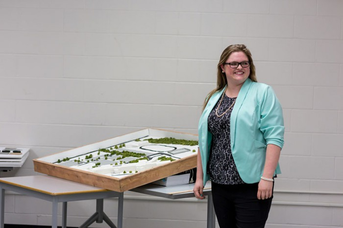 Halie Bradley presents her final third-year architectural project. The presentations encompassed students' design processes, ranging from initial concepts and design development to comprehensive contract documentation.