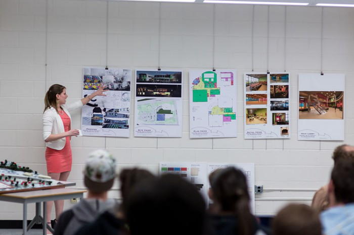 Katrine Dussault presents her final third-year architectural project in front of her peers.