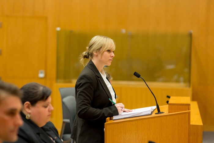 Students participate in a mock trial
