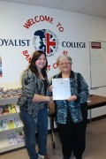 Mayor Jenkins presents the Town of Bancroft Bursary to PSW student Brianna McHale