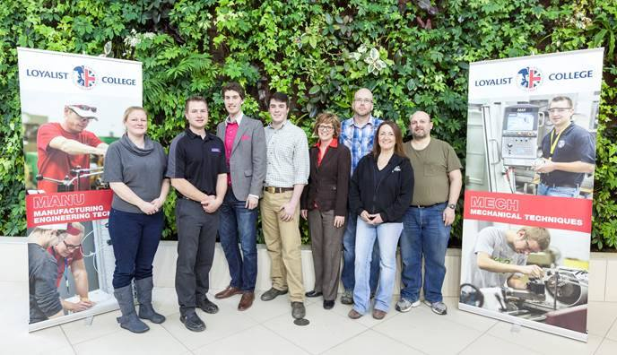 From left to right: Jenifer Dean, County Cider General Manager; Professor Jeremy Braithwaite; student Mac Calwell; student Steve Mullin; Loyalist College President Maureen Piercy; Sean Ferguson, Cider Maker; Dannielle Davidson, Production Manager and Cider Maker; and student Russell Brown.