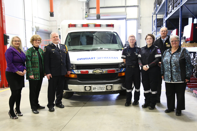(L-R): Lisa McVety, Loyalist College Paramedic Professor; Maureen Piercy, President & CEO, Loyalist College; John O'Donnell, Chief and Director of Emergency Services, Hastings – Quinte Paramedic Services; Cole Walker, Loyalist College Paramedic student; Brooke Bradley, Loyalist College Paramedic student; Rick Phillips, Warden of Hastings County; and Bernice Jenkins, Hastings County Councillor and Chair of the Hastings - Quinte Emergency Services Committee