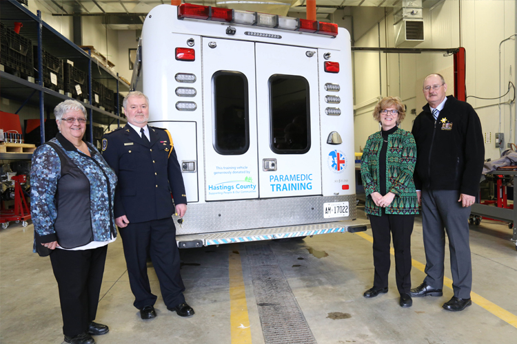 (L-R): Bernice Jenkins, Hastings County Councillor and Chair of the Hastings/Quinte Emergency Services; John O'Donnell, Chief and Director of Emergency Services, Hastings – Quinte Paramedic Services; Maureen Piercy, President & CEO, Loyalist College; and Rick Phillips, Warden of Hastings County