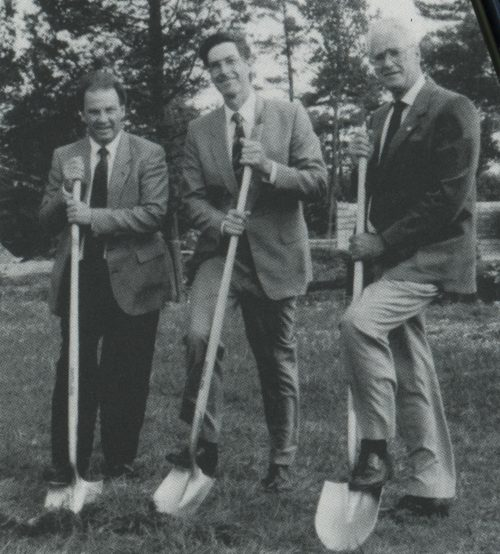 The committee responsible for overseeing the residence project at the sod-turning ceremony in September 1991. Left to right: Vice-President, student Affairs, J. Ed Boone, Director of Plant, Barry Deans, and Vice-President, Finance and Administration, Gordon J. Palmer.