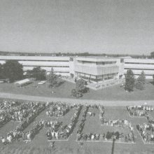 Orientation, students and staff spell LOYALIST for an aerial view photo, posted on earth.google.com.