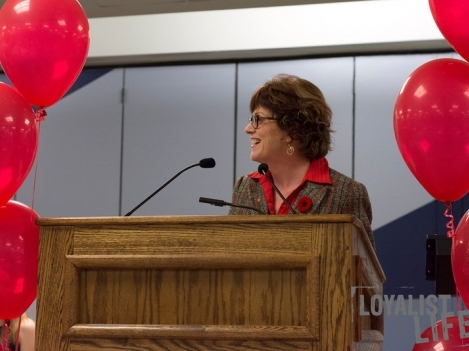 Loyalist President Maureen Piercy speaks at the grand opening of the Loyalist Dining Hall. (Photo by Carla Antonio.)